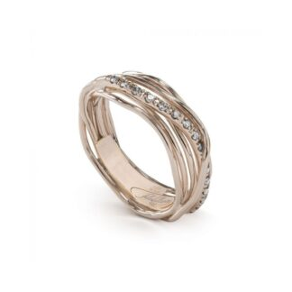 Anello 7 Fili in Oro Rosa 9kt con Diamanti - Classic Collection - AN7RBT