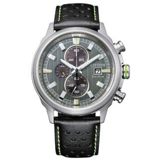 Orologio Eco Drive Cronografo Citizen in Acciaio e Pelle - Crono Sport - CA0739-13H