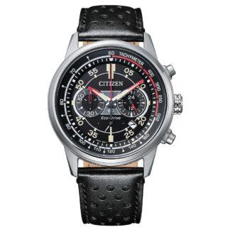 Orologio Eco Drive Cronografo Citizen in Acciaio e Pelle - Crono Racing - CA4460-19E
