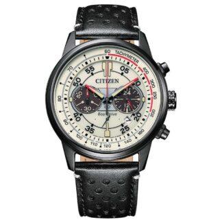 Orologio Eco Drive Cronografo Citizen in Acciaio e Pelle - Crono Racing - CA4465-15X