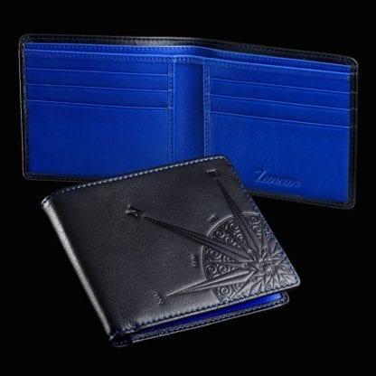 Portafogli Zancan in Pelle con Rosa dei Venti ed Interni Blu - Pelletteria - HPL025