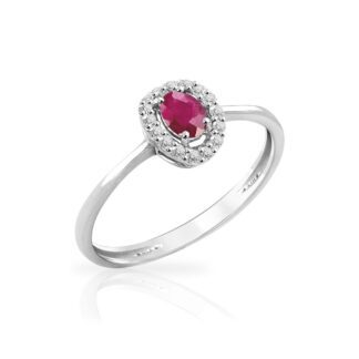 Anello Mey in Oro Bianco con Rubino e Diamanti | Ovale - ANMEY SBR-RB