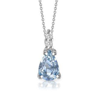 Collana Mey in Oro Bianco con Acquamarina e Diamanti | Goccia - CDMEY CLA-A2