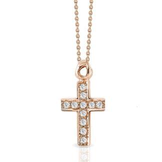 Collana Mey in Oro Rosa con Diamanti | Croce - CDMEY CLA-BR
