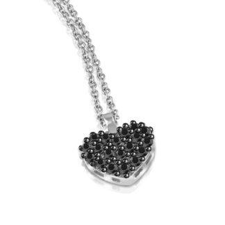 Collana Mey in Oro Bianco con Diamanti Neri | Cuore - CDMEY HRT-DK1