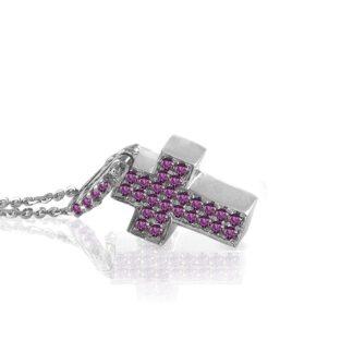 Collana Mey in Oro Bianco con Rubino e Diamanti | Ovale - CDMEY SBR-RB