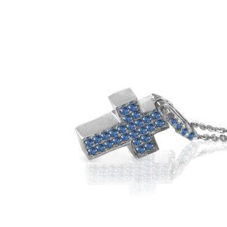 Collana Mey in Oro Bianco con Zaffiro e Diamanti | Ovale - CDMEY SBR-SH