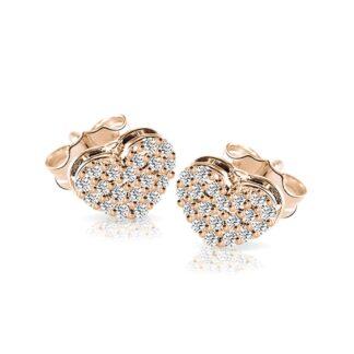 Orecchini Mey in Oro Rosa con Diamanti | Cuore - ORMEY HRT-DR