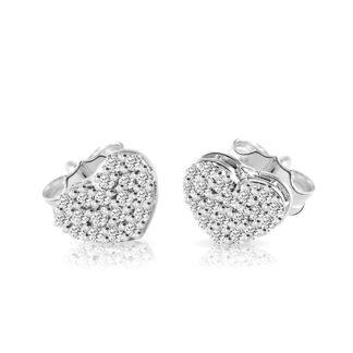 Orecchini Mey in Oro Bianco con Diamanti | Cuore - ORMEY HRT-DW