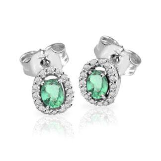 Orecchini Mey in Oro Bianco con Smeraldi e Diamanti | Ovale - ORMEY SBR-EM
